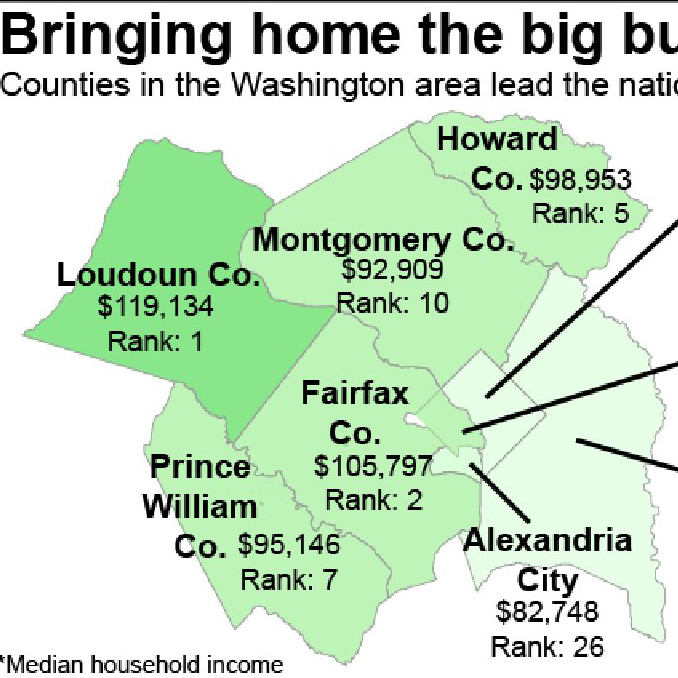 Heat map of DC median incomes